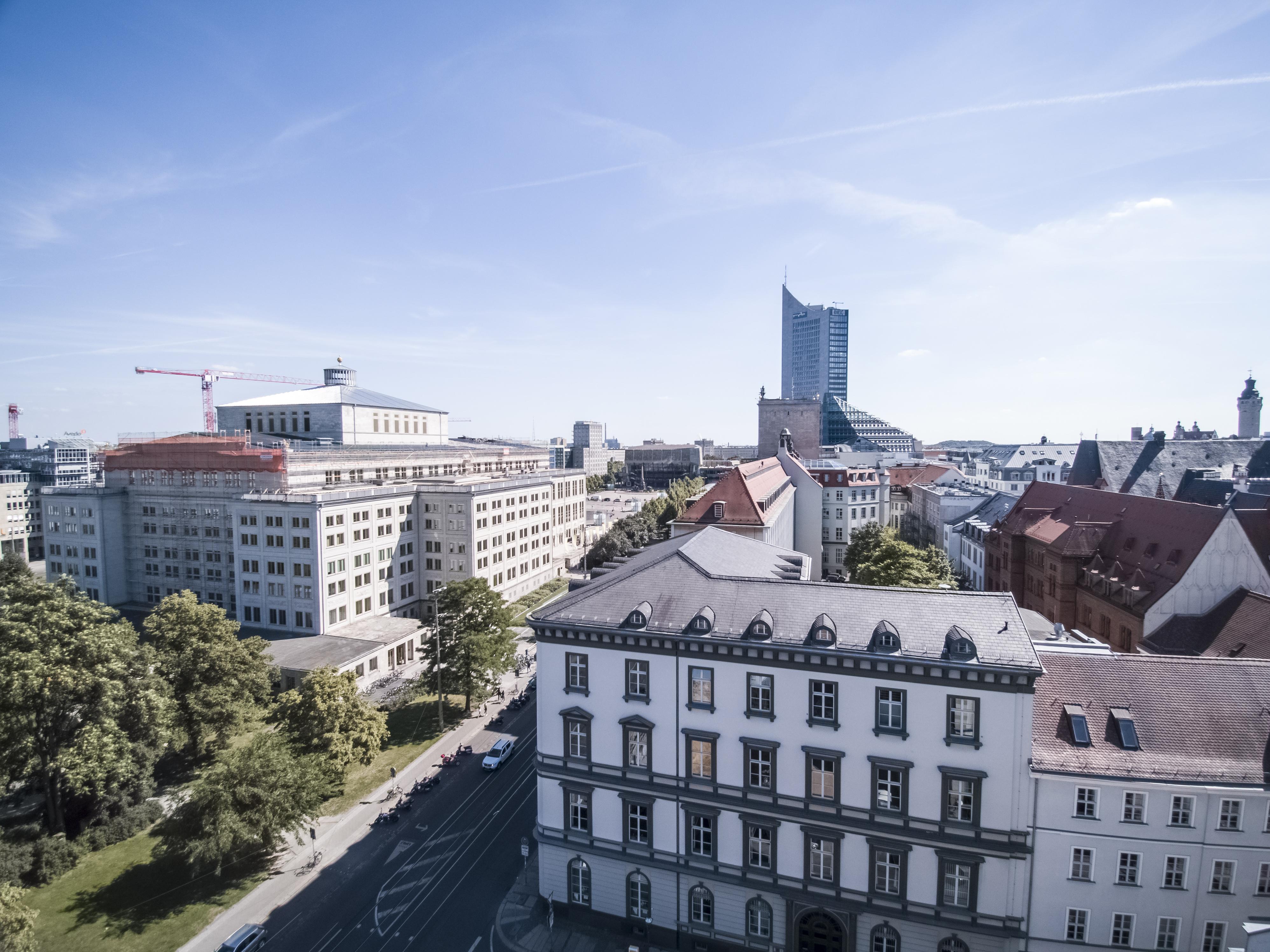 Drohnenflug in der Stadt Leipzig